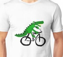 Funky Cool Alligator Riding Bicycle Unisex T-Shirt