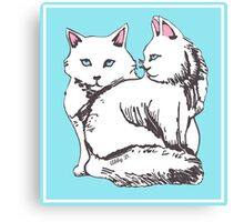 White Maine Coon Cats with Blue Canvas Print