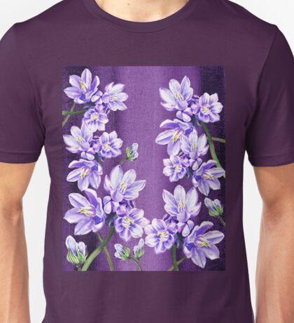 Purple On Purple Garden Flowers Unisex T-Shirt