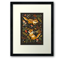 Two Cute Chipmunks in Autumn Background Framed Print