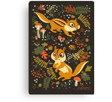 Two Cute Chipmunks in Autumn Background Canvas Print