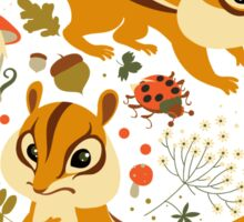 Two Cute Chipmunks in Autumn Background Sticker