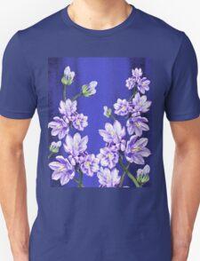 Purple Flowers Blue Blue Sky Unisex T-Shirt