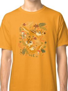 Two Cute Chipmunks in Autumn Background Classic T-Shirt