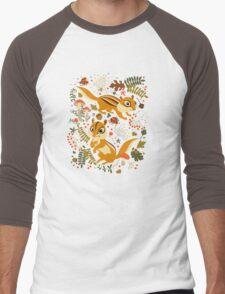 Two Cute Chipmunks in Autumn Background Men's Baseball ¾ T-Shirt