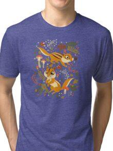 Two Cute Chipmunks in Autumn Background Tri-blend T-Shirt