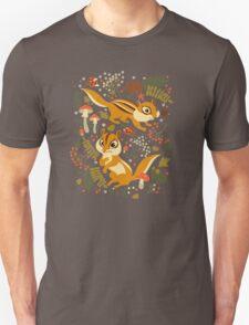 Two Cute Chipmunks in Autumn Background Unisex T-Shirt