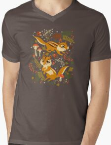 Two Cute Chipmunks in Autumn Background Mens V-Neck T-Shirt