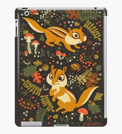 Two Cute Chipmunks in Autumn Background iPad Case/Skin