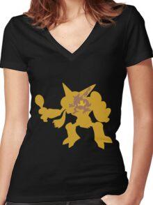 PKMN Silhouette - Abra Family Women's Fitted V-Neck T-Shirt