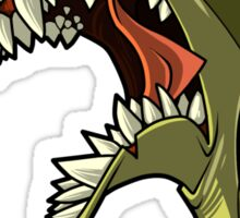 Angry green shark with shading Sticker