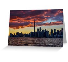 Fire sunset over Toronto Greeting Card