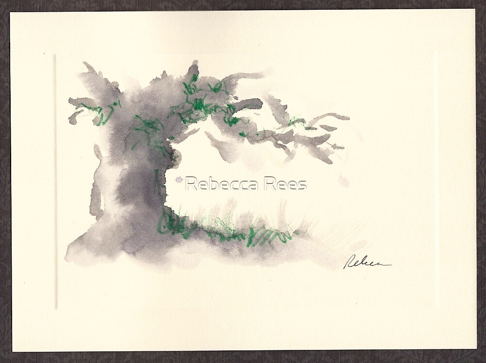 """Serenity""  ink wash watercolor on paper. by Rebecca Rees"