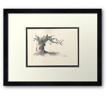 """Serenity""  ink wash watercolor on paper. Framed Print"