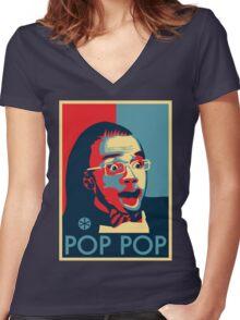 POP POP Women's Fitted V-Neck T-Shirt
