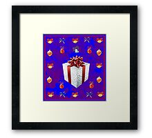 Christmas in Blue - Gift and Bells Christmas Card Framed Print