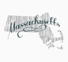 Massachusetts State Typography Kids Tee