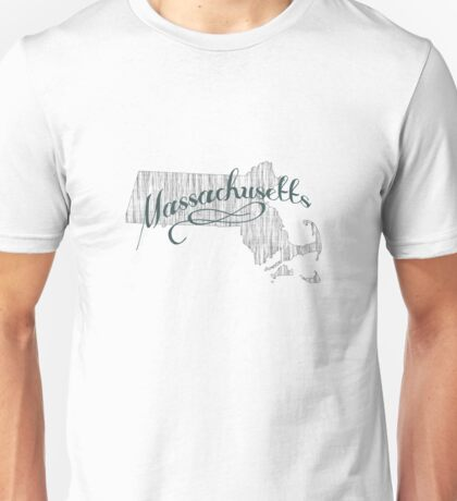 Massachusetts State Typography Unisex T-Shirt