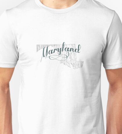 Maryland State Typography Unisex T-Shirt