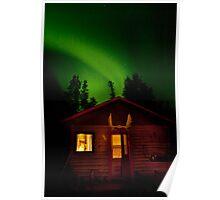 Aurora over cabin Poster
