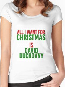 All I Want For Christmas (David Duchovny) Women's Fitted Scoop T-Shirt
