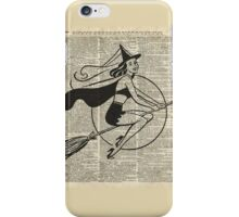 Witch Flying on Broom,Haloowen Party Costume Vintage Style Dictionary Art iPhone Case/Skin