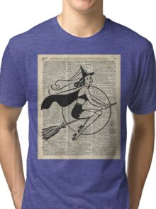 Witch Flying on Broom,Haloowen Party Costume Vintage Style Dictionary Art Tri-blend T-Shirt
