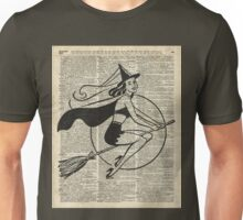 Witch Flying on Broom,Haloowen Party Costume Vintage Style Dictionary Art Unisex T-Shirt