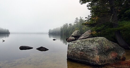 Granite Boulders - Bear Pond (Waterford,  Maine) by T.J. Martin