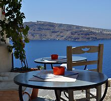 A Scenic Cafe Overlooking Caldera by Katerina Vorvi