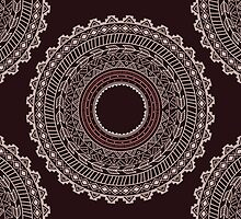 Ethnic Aztec circle ornament seamless pattern by BlueLela