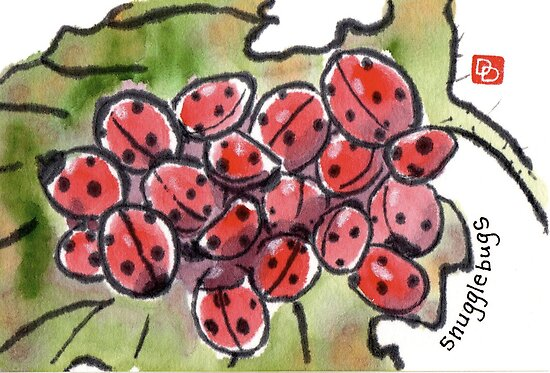 Ladybugs Hibernating on a Withered Leaf by dosankodebbie