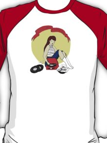 Record Player Pinup - Vinyl Girl T-Shirt