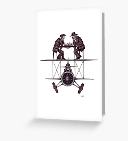 Chess game on the vintage airplane surreal black and white drawing Greeting Card