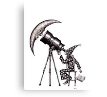 Astronomer surreal black and white pen ink drawing Canvas Print