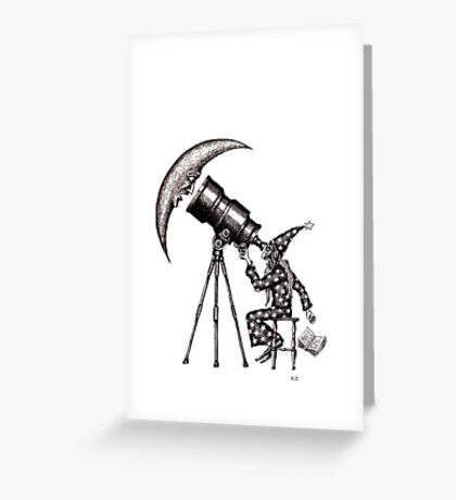Astronomer surreal black and white pen ink drawing Greeting Card