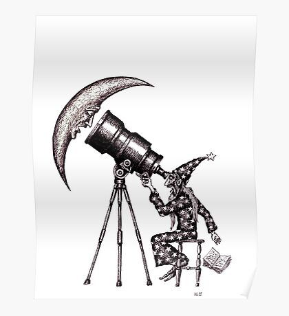 Astronomer surreal black and white pen ink drawing Poster