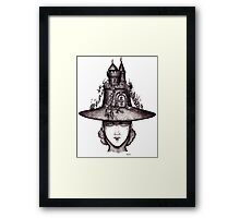 Castle on the girl's hat surreal black and white pen ink drawing Framed Print