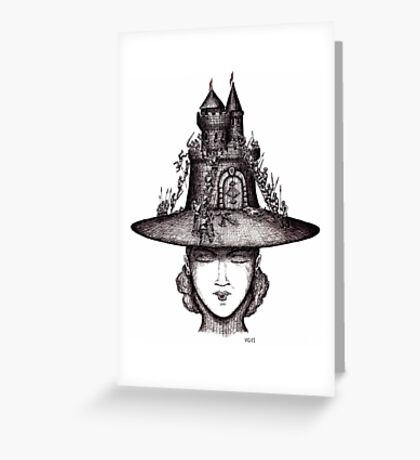 Castle on the girl's hat surreal black and white pen ink drawing Greeting Card