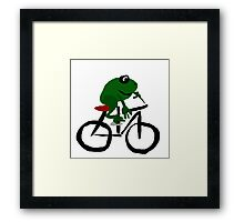 Cool Funny Frog Riding Bicycle Original Art Framed Print