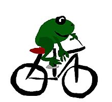 Cool Funny Frog Riding Bicycle Original Art Photographic Print
