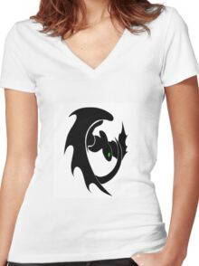 How To Train Your Dragon Nightfury Symbol Women's Fitted V-Neck T-Shirt