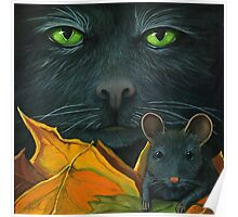 Black Cat and Mouse - Halloween oil painting Poster