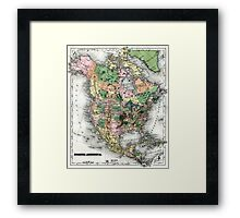 Map of the North American continent Framed Print
