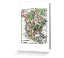 Map of the North American continent Greeting Card