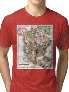 Map of the North American continent Tri-blend T-Shirt