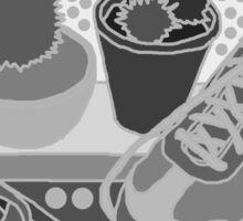 black & white cacti & shoes Sticker