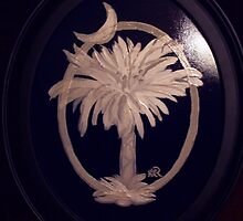 SC Palmetto and Crescent on Wood by Karen L Ramsey