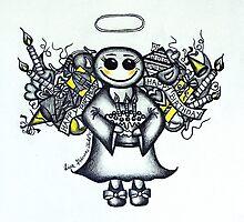 Birthday Angel by Lisa Frances Judd~QuirkyHappyArt