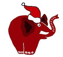 Cool Funky Red Elephant in Santa Hat Original Art Photographic Print